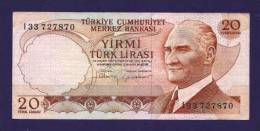TURKEY 1970 Law,  Banknote, USED VF,  20 Lira Km 123 - Turkije