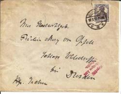 INF040a / Germania 15 Pfg. (Michel 101).  Devisenkontrollstempel Auswaertiges Amt 1919 - Briefe U. Dokumente