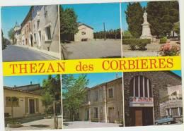 Cpsm    11 Aude Thezan Des Corbieres  La Couverte Le Boulodrome Le Monument Aux Morts La Mairie La Cave Cooperative - Francia