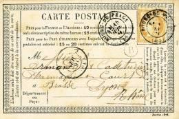 443/20 - Carte Précurseur TP Cérès BOURG Du PEAGE 1876 - Boite Rurale B - ROCHEFORT SAMSON - Biglietto Postale
