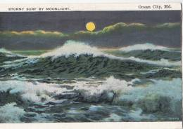 BR44497 Sormy Surf By Moonlight Ocean City    2  Scans - Ocean City