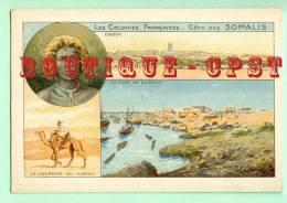 COTE Des SOMALIS - Port De Djibouti + Poste Courrier De Harrar + Vue De Obock + Descriptif - Bon Point - Dos Scanné - Vieux Papiers
