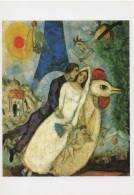 Marc CHAGALL......LES MARIES DE LA TOUR EIFFEL 1938.......1 CP 10.5X15 NEUVE - Paintings
