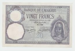Algeria 20 Francs 1929 XF+ Banknote P 78b 78 B - Algeria