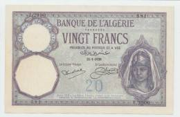 Algeria 20 Francs 1929 XF+ Banknote P 78b 78 B - Argelia