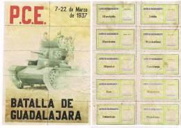 Batalla De Guadalajara PCE 1937 (Arroz, Lentejas, Garbanzos, Cebollas...) Cupones De Racionamiento - Volledige Vellen