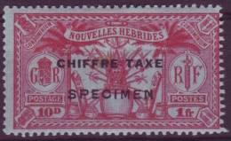 NOUVELLES HEBRIDES 1 FRANC/10 D CHIFFRE TAXE YT #2 SPECIMEN - Ongebruikt