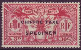 NOUVELLES HEBRIDES 30 CTS/3 D CHIFFRE TAXE YT #2 SPECIMEN - Ongebruikt