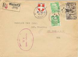 0347. Carta Aerea Certificada BIARRITZ (Basses Pyrenées) Francia 1951. Perfin B.B. - Francia