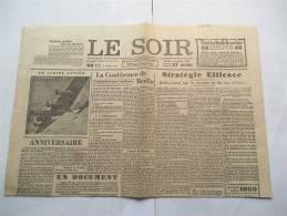 Guerre 1940-1945 - Le Faux Soir - Le Soir Antinazi Du 9-11-1943 - 2 Pages In-plano - Un Ds 5000 Ex De L'EO - RARE - Histoire