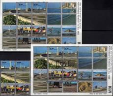 Exposition Aviv 1983 Strandpromenade Mittelmeer Israel 941/2, Block 25 **/ O 36€ Tourismus Bloc Philatelic Sheet Bf Asia - Blocs-feuillets