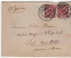 ENVELLOPE  Bollweiller Bollwiller Pour Sidi Bel Abes Oran Algérie Timbre Allemand Tampon Lyon1898 - Marcofilia (sobres)