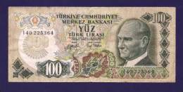 TURKEY 1970 Law,  Banknote, USED VF,  100 Lira Km 125 - Turkije