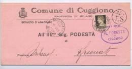 IM05 - COMUNE DI CUGGIONO - 10 C. IMPERIALE SU CORRISPONDENZA TRA SINDACI DA CUGGIONO A ARCONATE (MI) - 5.10.1940 - 1900-44 Vittorio Emanuele III