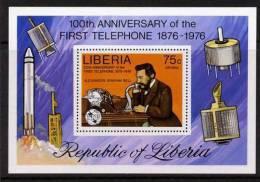 Liberia - Usato - Telecomunicazioni - Foglietto Graham Bell - Telecom