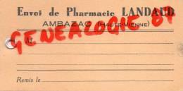 87 - AMBAZAC -  ETIQUETTE CARTONNEE PHARMACIE LANDAUD - Old Paper