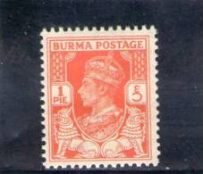 BIRMANIE 1938-40 * - Birmania (...-1947)