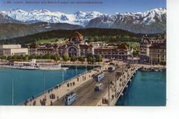 Luzern Seebrücke Und Bahnhof Gegen Die Unterwaldnerberge - LU Lucerne