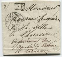 ORANGE (Vaucluse) Cachet à Date Type 12  + Griffe De Port-payé (noir) / 1832 - 1801-1848: Précurseurs XIX