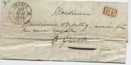 ORANGE (Vaucluse) Cachet à Date Type 12  + Griffe De Port-payé (rouge) / 1834 - Marcophilie (Lettres)