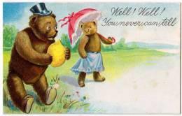 Papa Teddy Bear With A Lemon And Mama Bear With A Umbrella - Bears