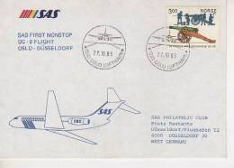 SAS FIRST NONSTOP DC 9 FLIGHT OSLO - DÜSSELDORF  SAS PHILATELIC CLUB SCANDINAVIAN AERLINES        OHL - Norway