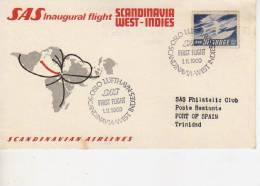 SAS INAUGURAL FLIGHT SCANDINAVIA WEST-INDIES  SK 952 1969 SCANDINAVIAN AIRLINES  SAS   OHL - Norway