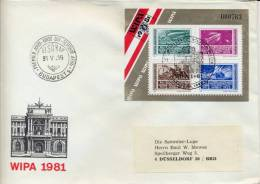 Hungary 1981 FDC Souvenir Sheet Philatelic Exhibition WIPA Austria SOS - Esposizioni Filateliche