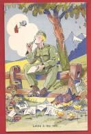 C0797 Illustrateur Minouvis, Soldat Cherchant L'inspiration Pourécrire Une Lettre à Ma Mie,papillons,poule,pouss Ins.Jae - Humour
