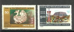 INDIA, 1987, India 89, Philatelic ( Stamp). Exhibition, New Delhi,  Set 2 V,  MNH, (**) - Esposizioni Filateliche