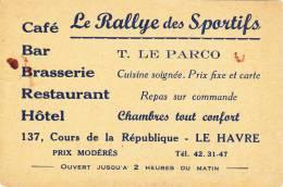 CARTE DE VISITE - LE HAVRE 76 SEINE MARITIME - CAFE LE RALLYE DES SPORTIFS - Cartes De Visite