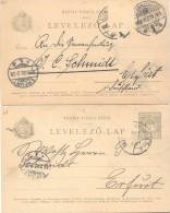 MAGYAR KIRALYI POSTA LEVELEZO LAP ENTIERS POSTAUX CIRCULEE A ERFURT 1901 RARES SOLD AS IS TIMBRES ARRACHES - Stamped Stationery