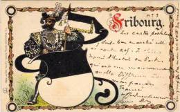 FRIBOURG - Illustration Avec Blason - Correspondance Cartophile Adressée A Georges Goury (50525) - Ohne Zuordnung
