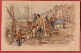C0821 Litho, Scène De Pêche. Attention : Dos = Publicité Pour Léopold Gottschalk à Genève,Draperie.CECI N'EST PAS UNE CP - Fishing