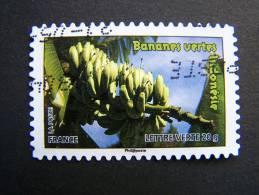 FRANCE OBLITERE 2012 N°694 BANANES VERTES INDONESIE SERIE DU CARNET DES FRUITS POUR UNE LETTRE VERTE AUTOCOLLANT ADHESIF - France