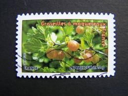 FRANCE OBLITERE 2012 N° 691 GROSEILLES A MAQUEREAUX SERIE DU CARNET DES FRUITS POUR UNE LETTRE VERTE AUTOCOLLANT ADHESIF - Oblitérés