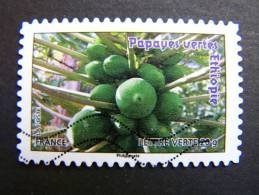 FRANCE OBLITERE 2012 N° 692  PAPAYES VERTE ETHIOPIE SERIE DU CARNET DES FRUITS POUR UNE LETTRE VERTE AUTOCOLLANT ADHESIF - France