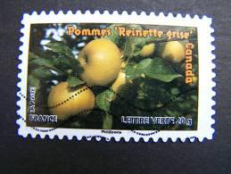 FRANCE OBLITERE 2012 N° 696  POMMES REINETTE GRISE SERIE DU CARNET DES FRUITS POUR UNE LETTRE VERTE AUTOCOLLANT ADHESIF - France