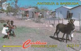 Antigua, ANT-17A, Kids At Play, Donkey, 2 Scans.   17CATA . - Antigua And Barbuda