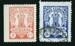 CORTEGANA  Rojo 5 Cts (*), Azul 5 Cts * - Spanish Civil War Labels