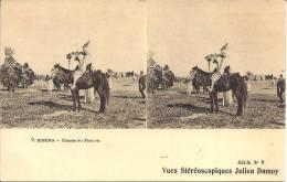 CARTE STÉRÉOSCOPIQUES JULIEN DAMOY - Série N°9 - Biskra - Chasse Au Faucon - Cartes Stéréoscopiques