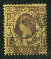 1887-1900 - Europe - Grande-Bretagne - Victoria - 3 P. Brun-lilas S. Jaune - - Used Stamps
