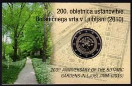 2 EURO-Blister Slowenien 2010 PP 50€ Sonder-Edition Botanischer Garten Ljubljana Im Spiegelglanz Coin Card Of Slovenija - Slovenië