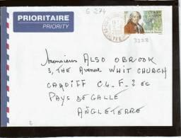 CAD 83  SIX FOUR LES PLAGES / 3328    Pour    Cardif   Pays De Galle  Angleterre - Marcophilie (Lettres)