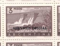 DIQUE BARRAGE EL NIHUIL PROVINCIA DE MENDOZA ARGENTINA SERVICIO OFICIAL NRO. 722 SATINADO MNH TBE CADRE BLOC DE QUATRE - Argentinien