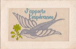¤¤   -   Carte Fantaisie Brodée  -  J'Apporte L'Espérence  -  Oiseau    -  ¤¤ - Brodées