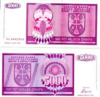 BOSNIA 5.000 Dinars 1992  *UNC* P-138 - Bosnia Y Herzegovina