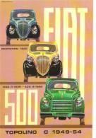 Fiat 500 ´Topolino´  -  1949-1954  -  Illustrateur Aldo Brovarone  -  Carte Postale - Voitures De Tourisme
