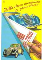 Fiat 500  -  Fiat 2800    -  Illustrateur Aldo Brovarone  -  Carte Postale - Voitures De Tourisme