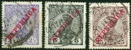 PORTOGALLO, PORTUGAL, RE MANUEL II, 1910, FRANCOBOLLI USATI, Scott 170,171,175   Afi 170,171,175 - 1910 : D.Manuel II